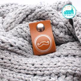 Big Labels with Push-Button Cognac 10 cm x 3 cm 'Moustache' Silver