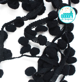 Pompon Strip Black 1 meter / pompons 1 cm