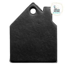 Leren Huisjes Labels 55 mm x 43mm Zwart