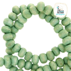 Houten kralen rond 8mm Nature hout-spearmint green