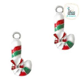 Bedels Kerst zuurstokje Zilver-rood- groen 22x10mm