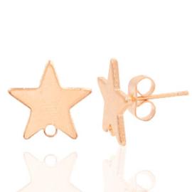 TQ metaal oorbellen oorsteker ster met oogje Light rosegold