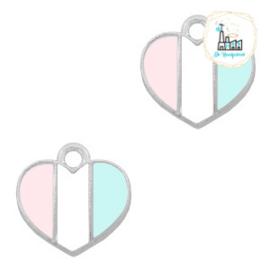 bedels hart Zilver-Light blue white pink 12 x12  MM
