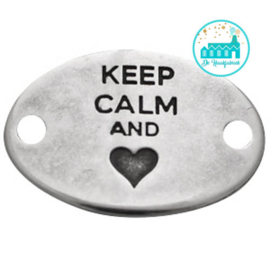 Metalen label Keep Calm and hartje zilverkleurig  29mm x 20mm