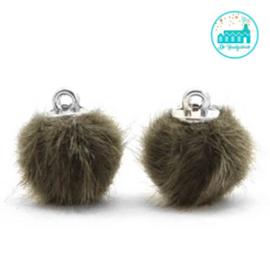 Mini Pompons Faux Fur 12 mm Olijf Groen