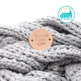 Round Leather Label 3,5 cm 'Gemaakt door Oma'