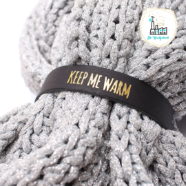 Sjaal Riempjes Zwart-KEEP ME WARM GOUD