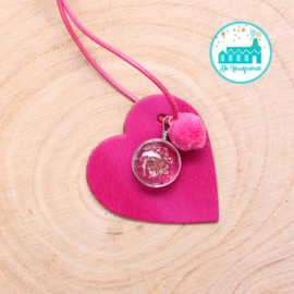 Leather Bag Hanger Pink 6 cm x 6 cm 'Heart'