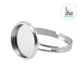 Metalen ring voor stipsteentje 12mm Zilver
