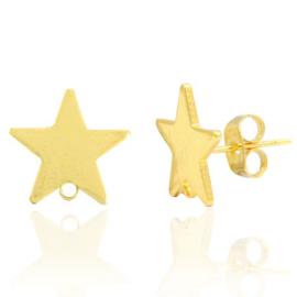 Brass TQ metaal oorstekers ster met oogje Goud
