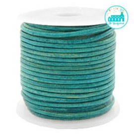 Round Leather String 2 mm Aqua Blue