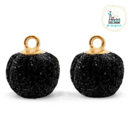 POMPOM BEDELS GLITTER  BLACK GOLD 12MM