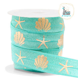 Elastisch lint shell/sea star Turquoise-gold