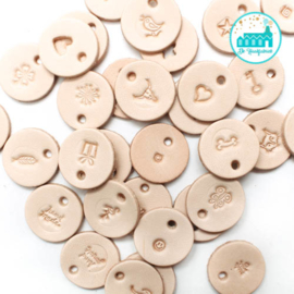 Ronde Leren Labels Klein 16 mm met symbool