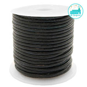 Round Leather String 1 mm Vintage Black