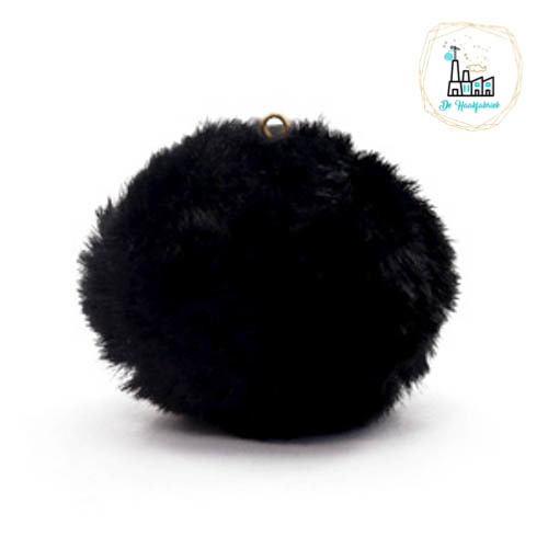 Pompon kunstbont  3,5 cm doorsnede Zwart