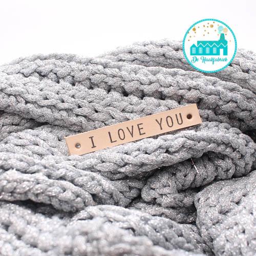 I Love You Leren Label Bedrukt