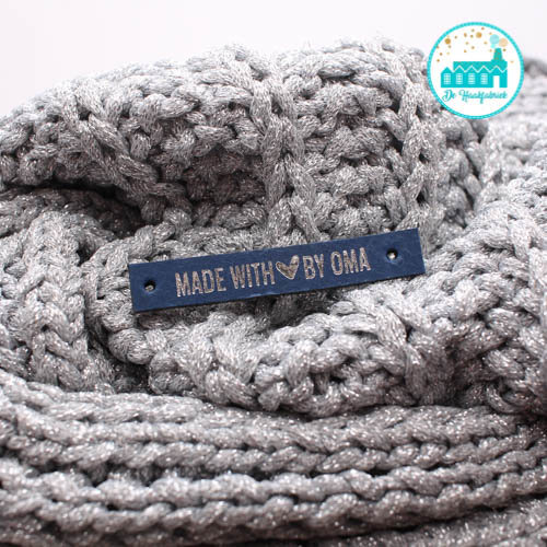 Leren Label Made With Love by Oma Blauw zilveren letter