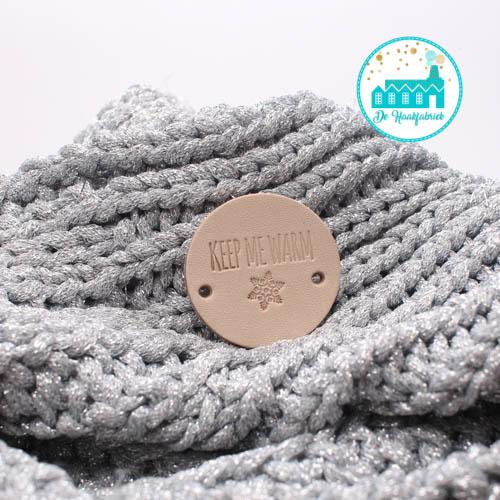 Ronde Leren label 3,5 cm Keep Me Warm Sneeuwster