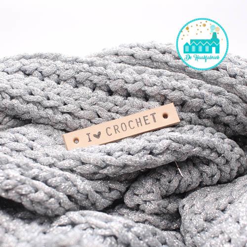 I Love Crochet Leren Label Bedrukt
