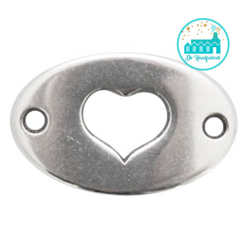 Silver Metal Label with Heart 20 mm x 13 mm