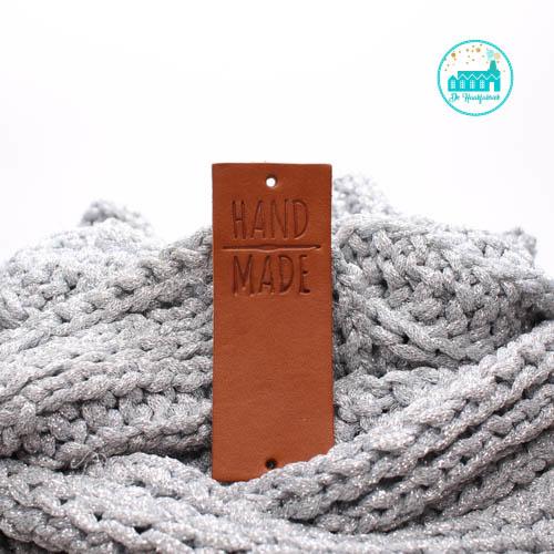 Big Labels  8 cm x 3 cm cognac Handmade met haaknaald GROOT