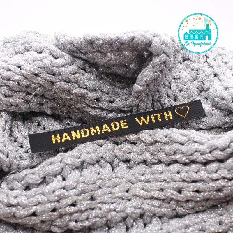 Strijk label Handmade with hartje zwart met goud