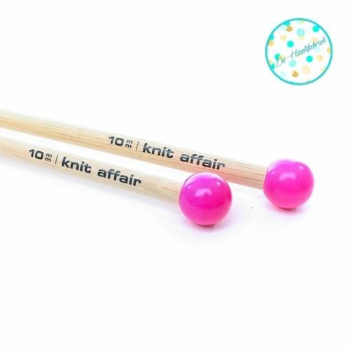 Knit Affair Basic Knitting Needles Neon Pink 10 mm length 35 cm