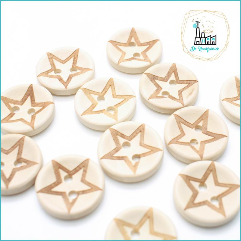 Wooden Buttons 20 mm 'Star'