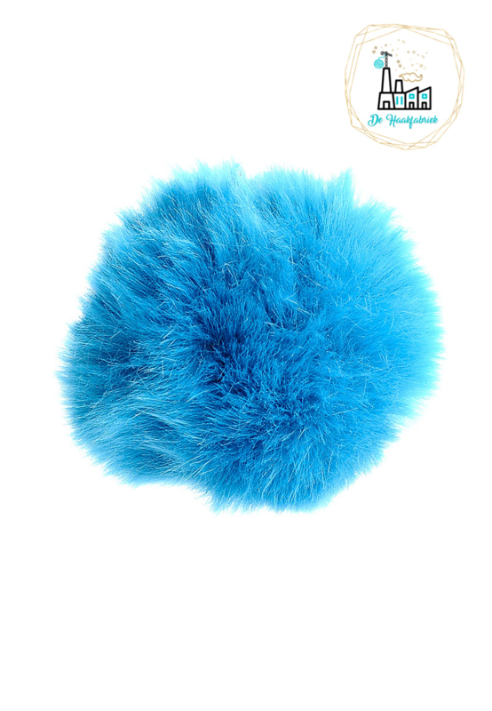 Pompon kunstbont  10 cm doorsnede Blauw
