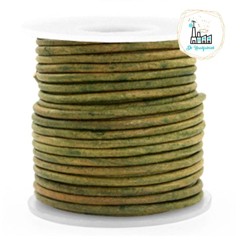 Leren Koord Rond 3 mm Vintage moss green
