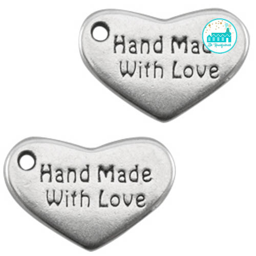 Heart Metal Label 'Handmade With Love' 12MM