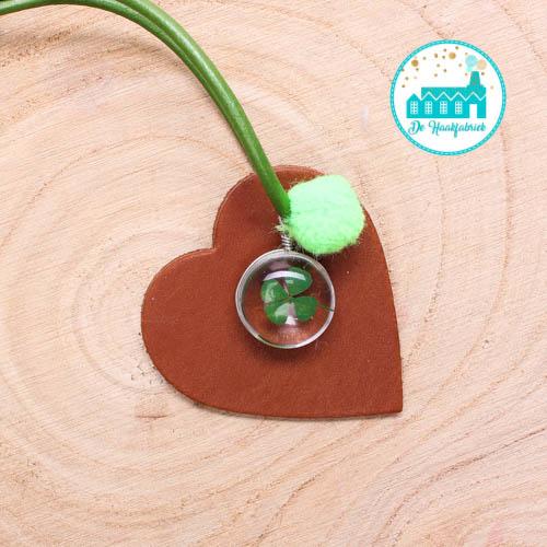 Leather Bag Hanger Cognac 6 cm x 6 cm 'Heart'