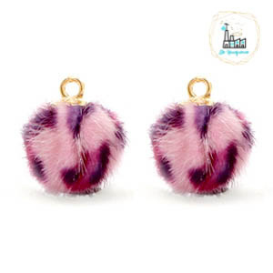 POMPOM BEDELS FAUX FUR LEOPARD PINK 12MM
