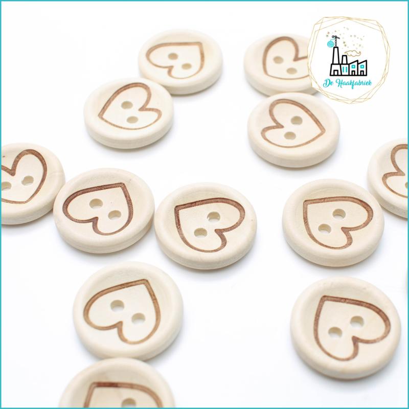 Wooden Button 20 mm 'Heart'