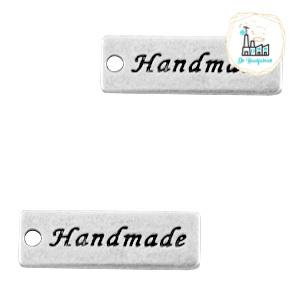 """Bedels DQ metaal """"handmade"""" Antiek zilver 17 x 6 mm"""