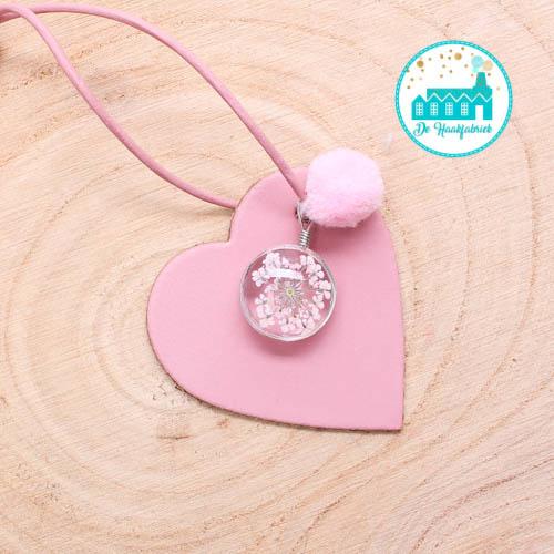 Leather Bag Hanger Soft Pink 6 cm x 6 cm 'Heart' 01