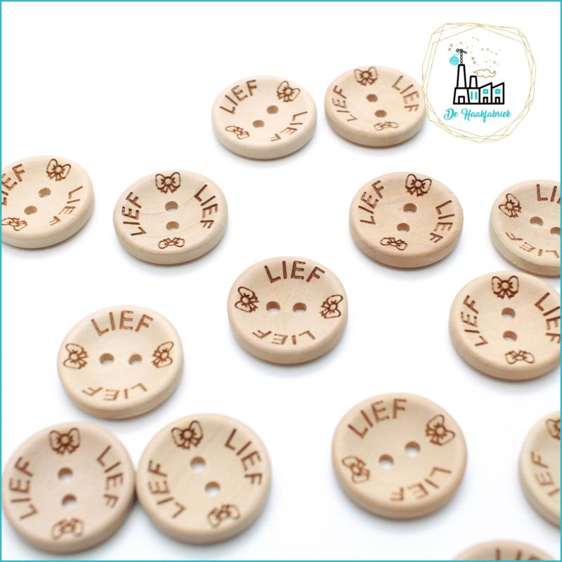 20 mm Houten Knoopjes Lief met strikje Design De Haakfabriek