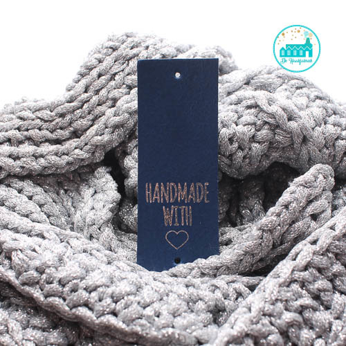 Big Labels Donker Blauw 8 cm x 3 cm Handmade with hartje zilver