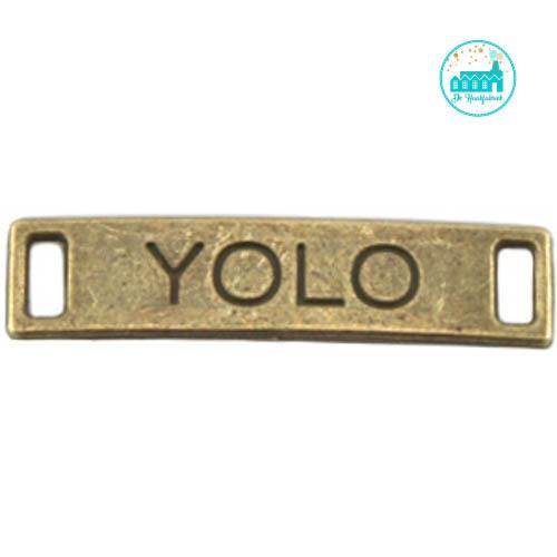 Bronze Metal Label 'YOLO' 28 mm x 6 mm