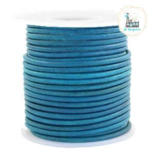 Leren Koord Rond 3mm Vintage aqua dazzle blue