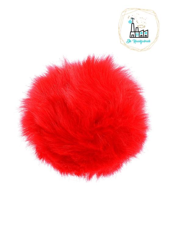 Pompon kunstbont  10 cm doorsnede Rood