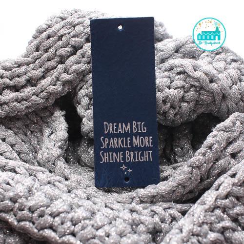 Big Labels  8 cm x 3 cm Donker Blauw Dream Big....zilver