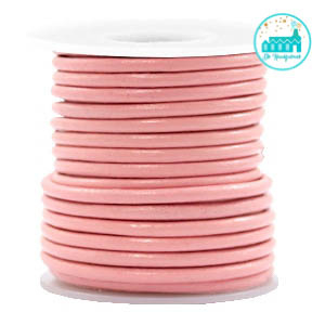 Round Leather String 3 mm Pink