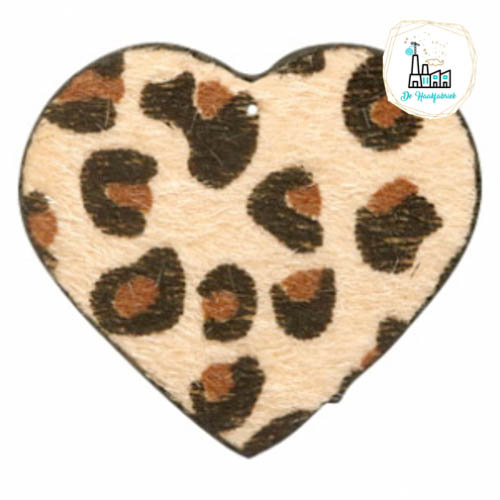 Hairy imi leer hangers hart met leopardprint Beige Brown 56x50mm