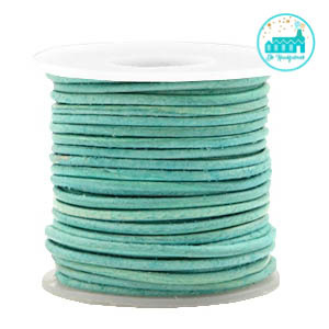 Round Leather String 1 mm Pastel Green Turquoise Green