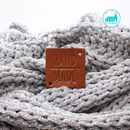 Square Leather Label 3,5 cm x 3,5 cm 'Handmade with crochet needle' (big)