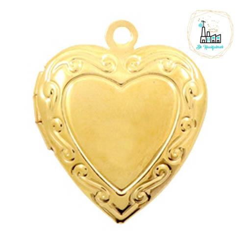 Metalen bedel medaillon hart Goudkleurig ca. 22x19mm