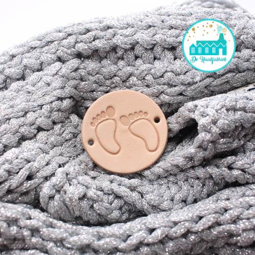 Ronde Leren label 3,5 cm Baby Voetjes