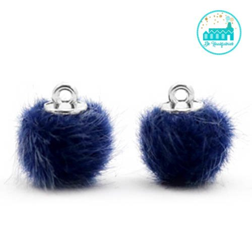 Mini Pompons Faux Fur 12 mm Dark Blue